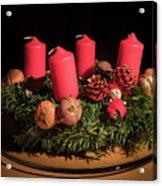 Closeup Of An Advent Wreath, Unlit Candles Acrylic Print