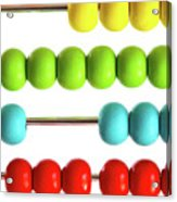 Closeup Of Bright  Abacus Beads On White Acrylic Print by Sandra Cunningham