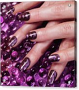 Closeup Of Woman Hands With Purple Nail Polish Acrylic Print