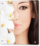 Closeup On Beautiful Face With Flowers Acrylic Print by Anna Om