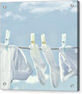 Clothes Hanging On Clothesline Acrylic Print by Sandra Cunningham