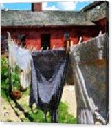 Clothes Hanging On Line Closeup Acrylic Print