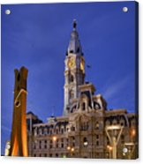 Clothespin And City Hall Acrylic Print by John Greim