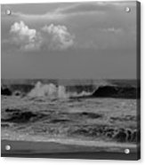 Cloud And Wave Black And White Seaside New Jersey  Acrylic Print