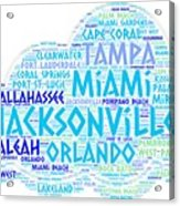 Cloud Illustrated With Cities Of Florida State Acrylic Print