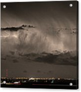 Cloud To Cloud Lightning Boulder County Colorado Sepia Color Mix Acrylic Print