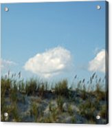 Cloud Trio And Dunes - Huntington Beach Sc Acrylic Print