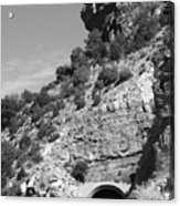 Cloudcroft Tunnel  Black And White Acrylic Print