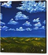 Clouds And Grass Field Acrylic Print