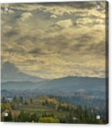 Clouds And Sun Rays Over Mount Hood And Hood River Oregon Acrylic Print