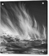 Clouds - Flame Shape - Black And White Acrylic Print