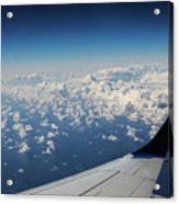 Clouds Under An Airplane Wing Acrylic Print