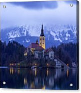 Clouds Over Lake Bled Acrylic Print