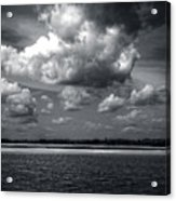 Clouds Over Masonboro Island In Black And White Acrylic Print