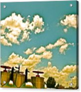 Clouds Over Oil Field Equipent Acrylic Print