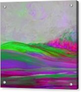 Clouds Rolling In Abstract Landscape Purple And Hot Pink Acrylic Print