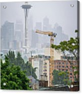 Cloudy And Foggy Day With Seattle Skyline Acrylic Print