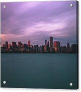 Cloudy Sunset Chicago Skyline Acrylic Print