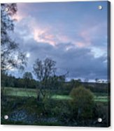 The Evening Is Fallen Over The Meadow Colouring The Sky Pink And Blue. Acrylic Print