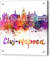 Cluj-napoca Skyline In Watercolor Splatter Acrylic Print