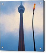 Cn Tower In Toronto With Red Streetlamp Acrylic Print