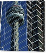 Cn Tower Reflected In A Glass Highrise Acrylic Print