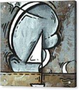 Coastal Art Contemporary Sailboat Painting Whimsical Design Silver Sea I By Madart Acrylic Print