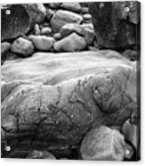 Coastal Granite In Black And White Acrylic Print