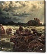 Coastal Landscape With Ships On The Horizon Acrylic Print