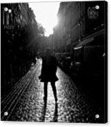 Cobblestone Path Home Paris Bw Acrylic Print