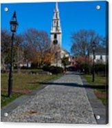 Cobblestone To Trinity Church Newport Rhode Island Acrylic Print