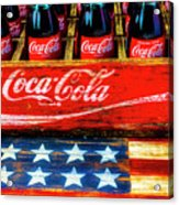 Coca Cola And Wooden American Flag Acrylic Print