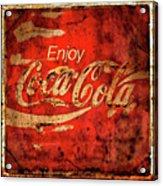 Coca Cola Square Aged Texture Black Border Acrylic Print