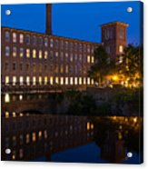 Cocheco Mills At Blue Hour Dover New Hampshire Acrylic Print