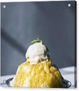 Coconut Sorbet With Mango Sauce And Vanilla Ice Cream Acrylic Print