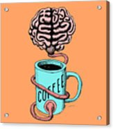 Coffee For The Brain Funny Illustration Acrylic Print