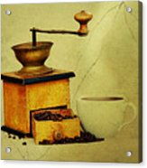 Coffee Mill And Cup Of Hot Black Coffee Acrylic Print