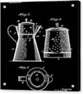 Coffee Pot Patent 1916 Black Acrylic Print