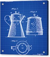 Coffee Pot Patent 1916 Blue Print Acrylic Print