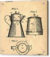 Coffee Pot Patent 1916 Sepia Acrylic Print