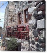 Coffee Shop In Santorini Acrylic Print
