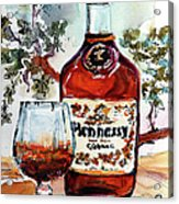 Cognac Hennessy Bottle And Glass Still Life Acrylic Print