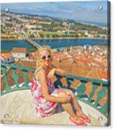Coimbra Cityscape Woman Acrylic Print