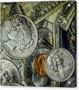 Coins And Bills Acrylic Print