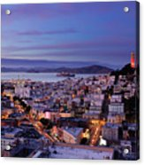 Coit Tower And North Beach At Dusk Acrylic Print by Photo by Brandon Doran