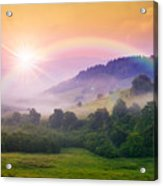 Cold Fog On Hot Sunrise In Mountains Acrylic Print
