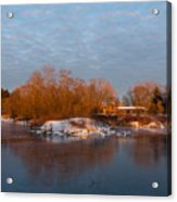 Cold Ice Warm Light - Early Winter Morning On The Lake Shore Acrylic Print