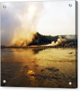 Cold Morning Sunrise At Grand Prismatic Spring Acrylic Print