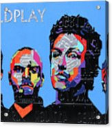 Coldplay Band Portrait Recycled License Plates Art On Blue Wood Acrylic Print