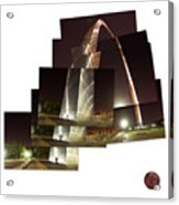 Collage Of Gateway Arch At Night Acrylic Print